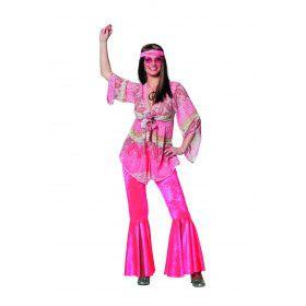 Dandy Pink Flower Power De Luxe Roze Vrouw Kostuum
