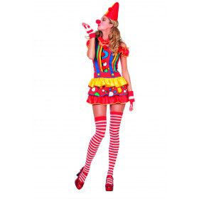 Funny And Sexy Rood Gele Clown Bubbles Vrouw Kostuum