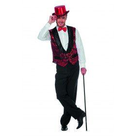 Circus Omroeper Vest Pailletten Rood Man