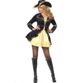 Fever Swashbuckler Zwart-Goud Vrouw Kostuum