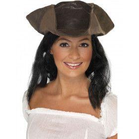 Bruine Piratenhoed Met Haar