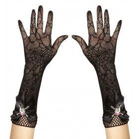 Handschoenen Spinnenweb Met Diamant Schedel