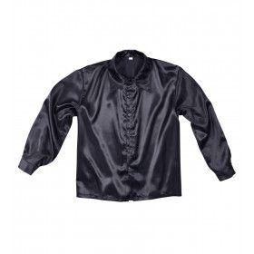 70s Disco Shirt Zwart Satijn Man