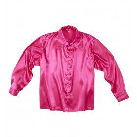 70s Disco Shirt Roze Satijn Man