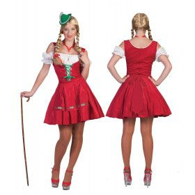 Rotes Raum Dirndl Vrouw Kostuum