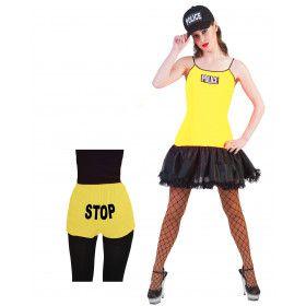 Neon Geel Politie Vrouw Kostuum