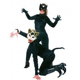 Mysterieuze Zwarte Kat Vrouw Kostuum