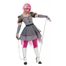Houterige Zwart Wit Marionet Vrouw Kostuum