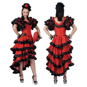Zwaaiende Rokken Flamenco Vrouw Kostuum