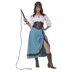 Sexy Sue Split Saloon Cowgirl Vrouw Kostuum