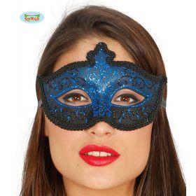 Oogmasker Mysterie Venetie Blauw