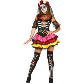 Fleurige Day Of The Dead Dame Vrouw Kostuum