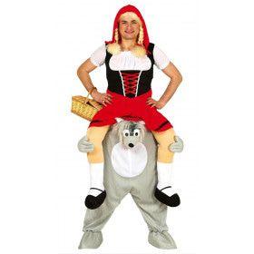 Roodkapje Zit Op De Schouders Van De Wolf Man Kostuum