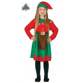 Rood Groene Elf Meisje Kostuum