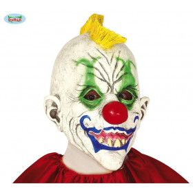 Latex Masker Clown Met Mohawk Hanenkam