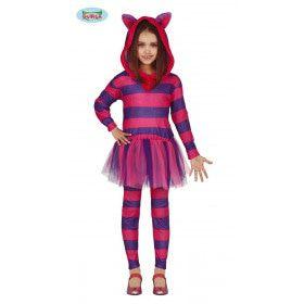 Lila Sprookjes Kat Cheshire Meisje Kostuum