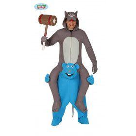 Kat Op De Schouders Van Een Rat Kostuum