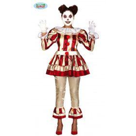 Killer Clown Horror Circus Slash Vrouw Kostuum