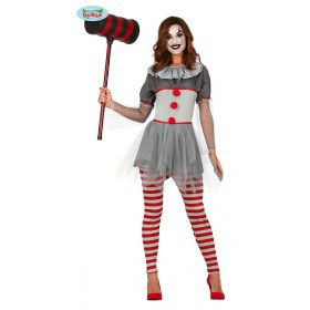 Kort Grijs Killer Clown Vrouw Kostuum