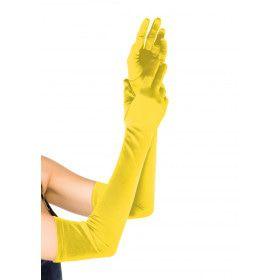 Extra Lange Satijnen Handschoenen Geel