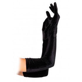 Lange Velvet Handschoenen Zwart