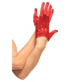 Korte Satijnen Handschoenen Rood