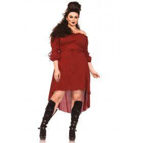 Sexy Historische Boerin Jurk Rood Plus Size Vrouw