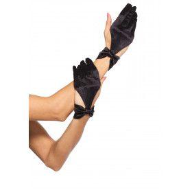 Satijnen Halve Handschoenen Met Strik-Detail Zwart