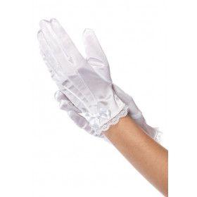 Meisjes Satijnen Handschoenen Wit