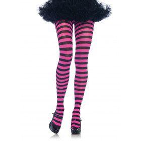 Nylon Gestreepte Panty Roze-Zwart