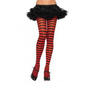 Nylon Gestreepte Panty Rood-Zwart (Plus Size)