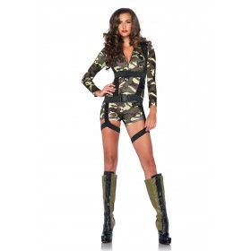 Hete Commando Dame Catsuit Met Harnas Vrouw Kostuum