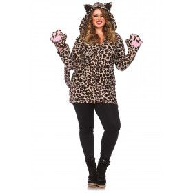 Sexy Fleece Luipaard Jurkje (Plus Size) Vrouw