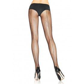 Visnet Panty Met Naad Achterzijde Zwart (Plus Size)