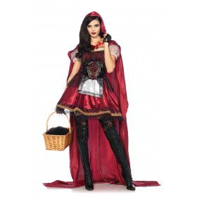 Luxe Satijnen Roodkapje Vrouw Kostuum