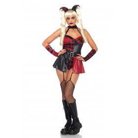 Sexy Zwart-Rode Harlekijn Vrouw Kostuum