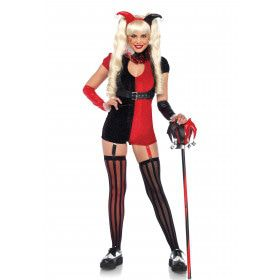 Zwart-Rode Hofnar Compleet Vrouw Kostuum