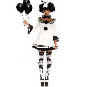 Zwart Witte Pierrot Paris Vrouw Kostuum