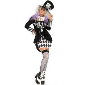 Zwart Witte Wonderland Mad Hatter Vrouw Kostuum