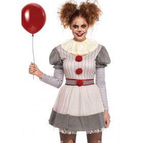Enge Halloween Clown Horror Circus Vrouw Kostuum