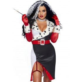 Wreed Fraai Cruella Dalmatier Vrouw Kostuum