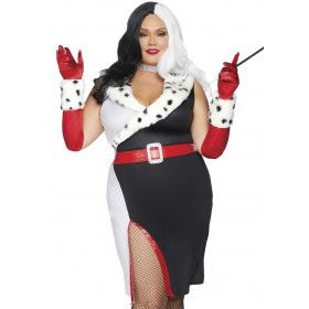 Wreed Fraai Cruella Dalmatier Plus Size Vrouw Kostuum