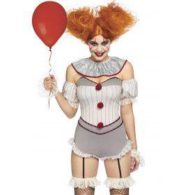 Dodelijk Aantrekkelijke Halloween Clown Vrouw Kostuum