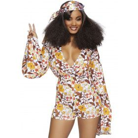 Boogie Down Babe Hippie Vrouw Kostuum