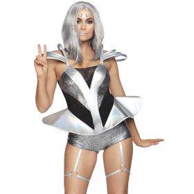 In Een Baan Om De Aarde Science Fiction Astronaut Vrouw Kostuum