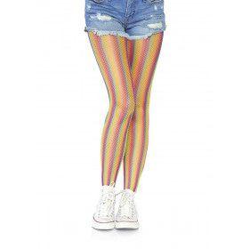 Glinsterende Regenboog Visnet Panty Geel