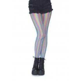 Glinsterende Regenboog Visnet Panty Blauw