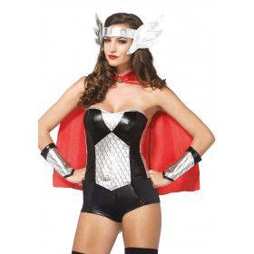 4delige Viking Superheldin Set Zwart-Wit Vrouw Kostuum