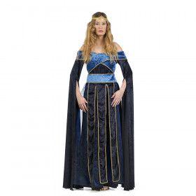 Blauw Middeleeuwse Hertogin Henrike Von Handrup Vrouw Kostuum