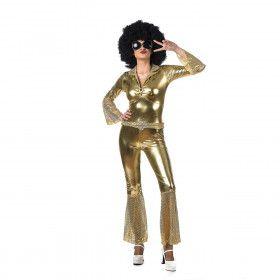 Strak Glimmend Gouden Disco Boogie Vrouw Kostuum